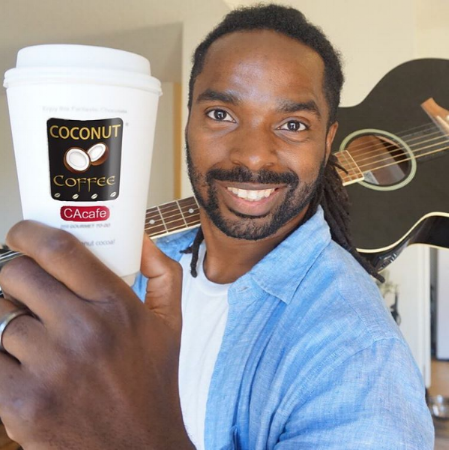 CAcafe musician fan loves coconut coffee
