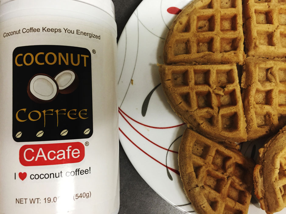 CAcafe coconut coffee waffle and jar