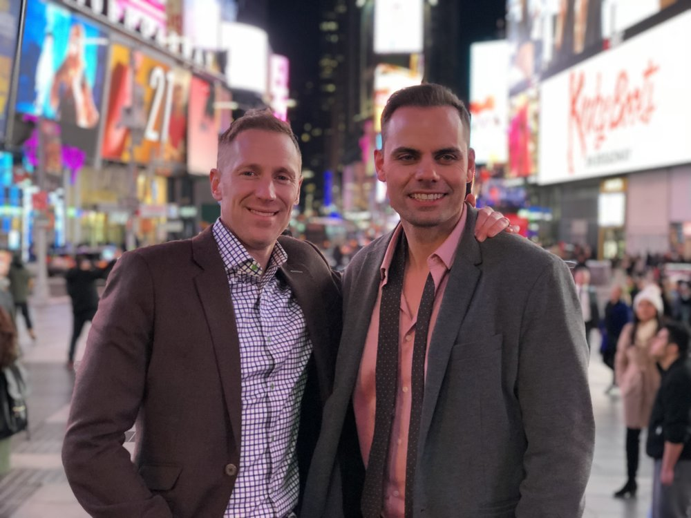 Sean Nielsen (left) and fellow RSIR broker Brian Hopper paused for a quick photo in Times Square.