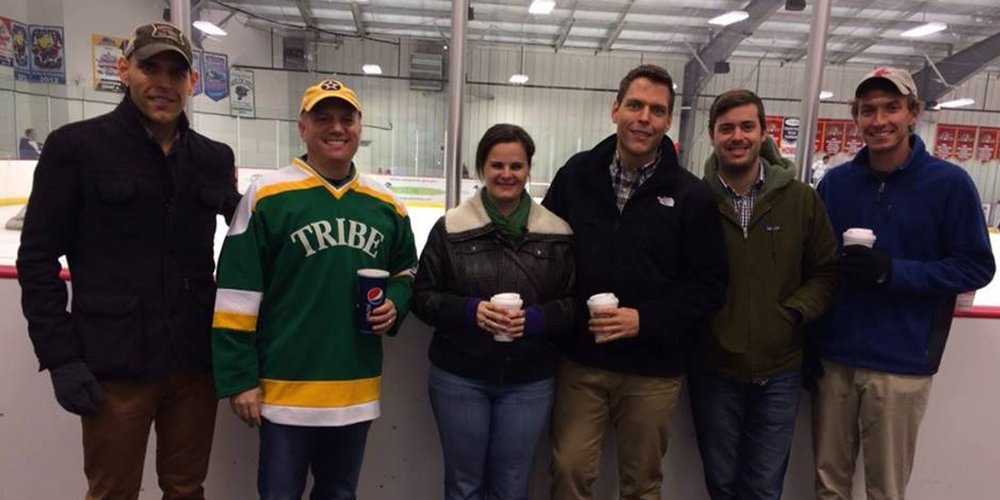 Tribe Hockey alums Pierce Blue '06, Matt Levey '13, Corey Miller '08, Nathan Miller '06, Amber Morris (daughter of former Coach Phil Morris), Judson Payne '01, Will Payne '01, and Jeff Stern '92 joined the team for an authentic Italian dinner compliments of Janice Fielder's The Roving Italian food truck. (pictured l to r: J. Payne, Stern, Morris, W. Payne, N. Miller, and C. Miller)