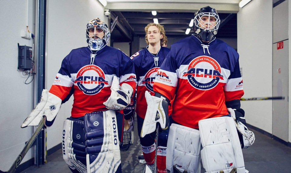 Don't mess with these guys -- Captain Julian Kell takes the ice with ACHA D3 Select Team goalies in Europe.