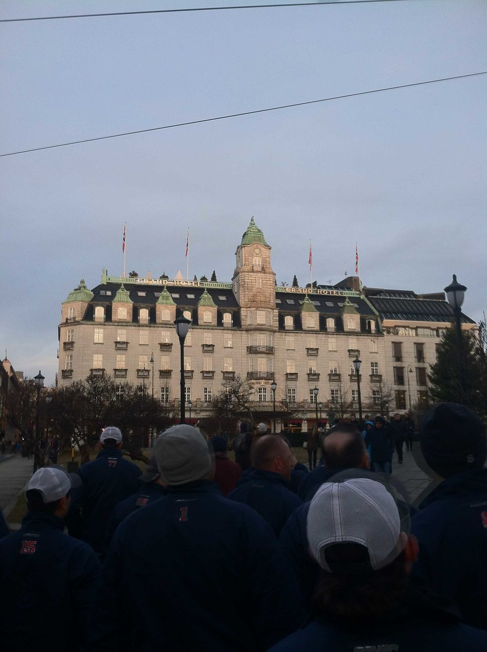 Captain Julian Kell and the ACHA D3 Select Team took in the sights in Oslow, including the Grand Hotel, which hosts the annual Nobel Peace Prize ceremony.