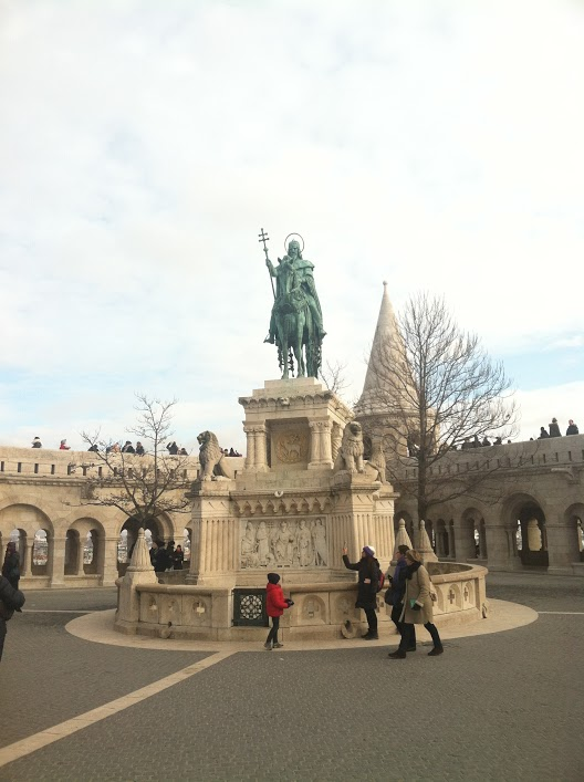 Statue of St. Stephen on Buda Castle Hill in Budapest, Hungary.