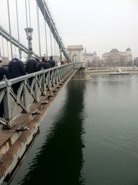 The Chain Bridge in Budapest that connects Buda and Pest.
