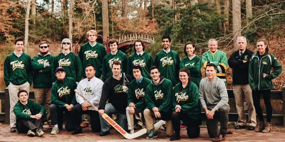 2016-2017 team in front of Crim Dell on February 4, 2017. Thanks for former player Brian Molloy (third from right in back) for joining us.