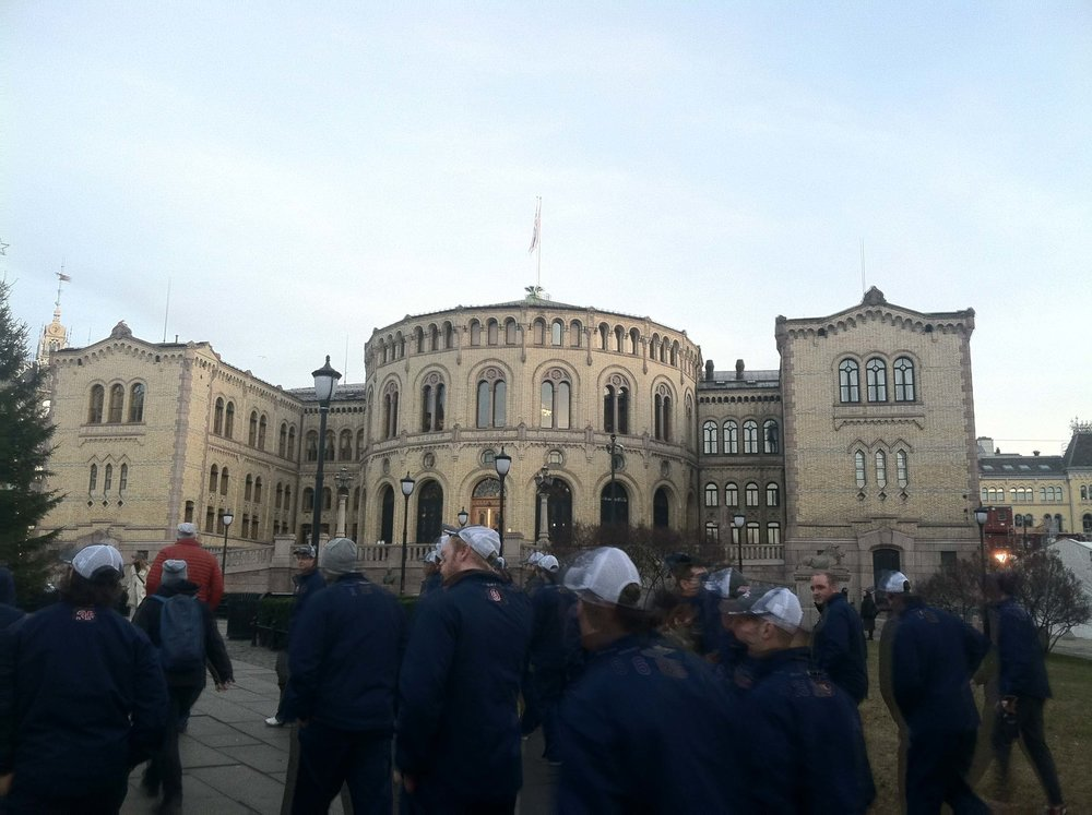W&M senior Julian Kell and the ACHA team in Oslo, Norway. (Photo courtesy Julian Kell)