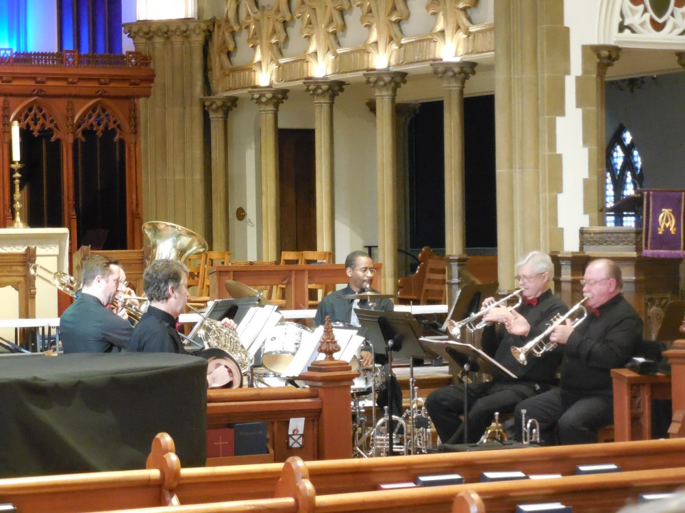 Madison Brass fills the nave with the sounds of horns during a GracePresents concert in 2016.