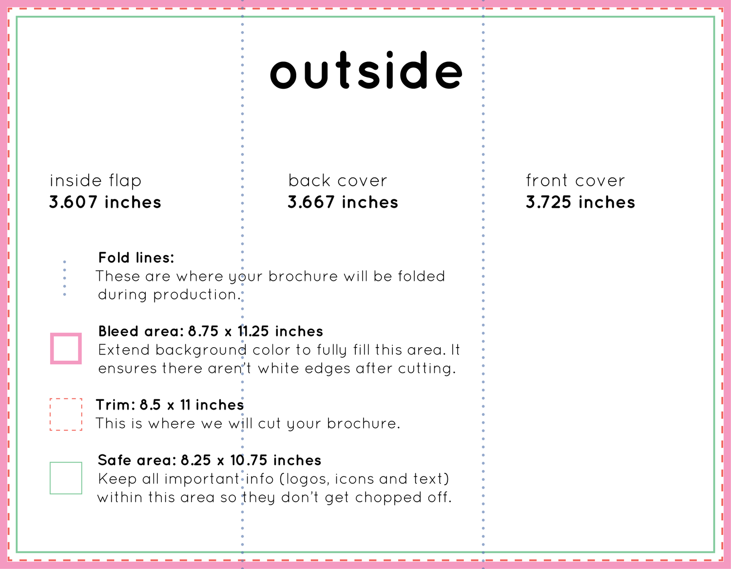 how to set up a tri fold brochure plus free template bug press