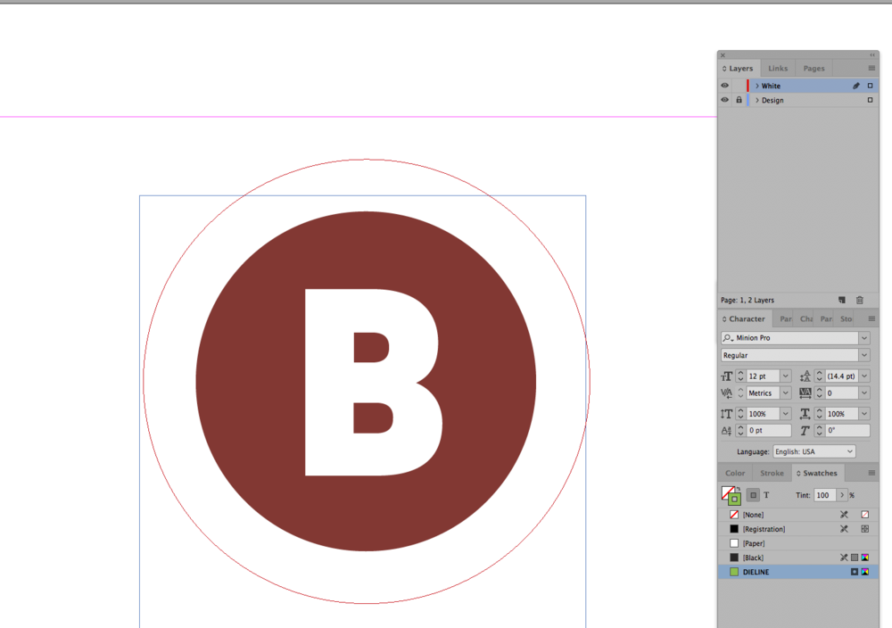 Creating a White layer. All White elements should be contained in this layer. In this example, only the circle is required to be contained in that layer.