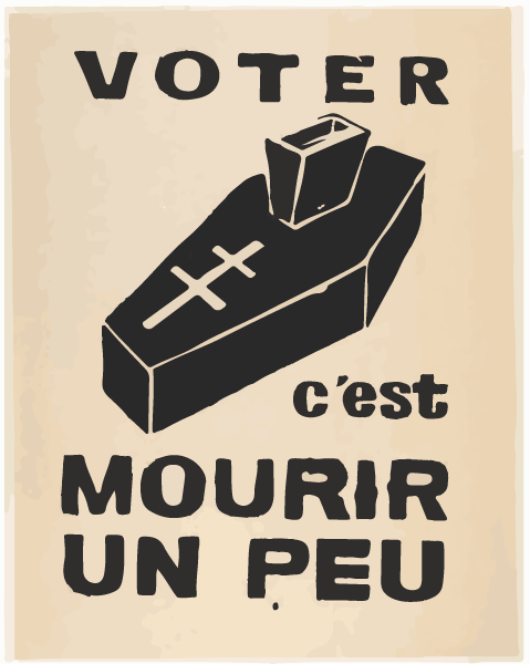 Voter c'est mourir un peu (Voting is dying a little)  poster, Atelier Populaire, France, 1968  In 1968, young French students, disillusioned with the conservative Catholic government of Charles de Gaulle, held mass demonstrations and strikes across France. These strikes challenged de Gaulle's legitimacy and he fled the country. He returned to negotiate with students and workers in an attempt to assuage resistance. Then in 1969, when his nationwide referendum vote failed to pass, he resigned, lacking sufficient support to stay in power.  The poster represents the students' disillusionment with the electoral process and is a call to action, referencing the long history of French civil disobedience and revolutionary thought. The ballot box is depicted as a coffin and the Lorrraine Cross, a symbol of hope during WWII, is subverted, meant to represent the failures of de Gaulle's government.