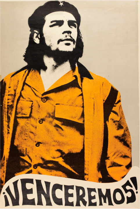 ¡Venceremos! (We Shall Overcome!)  poster, unknown artist, Cuba, 1970  The Cuban Revolution was an uprising conducted by the 26th of July Movement and allies against the authoritarian government of U.S.-backed president Fulgencio Batista. Batista was a widely unpopular politician who, with financial, military, and logistical support from the United States, staged a coup, and then proceeded to suspend the Cuban Constitution and revoke political liberties from civilians, including the right to strike. He censored the media and utilized secret police to torture and execute communists, killing an estimated 20,000 people.  From 1953-58 the rebels, assisted by Che Guevara and unified under Fidel Castro, fought to overthrow Batista until they succeeded in December 1958. Che Guevara became an icon of rebellion throughout the world.