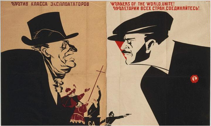 Workers of the World, Unite!  poster, Dmitrii Stakhievich Moor, Russia, 1941  The Russian Revolution was the dismantling of the Tsarist autocratic government and the creation of the Soviet Union between 1917 and 1922. During the First World War, millions of Russian soldiers were dying and the civilian population wanted an end to Russian participation in the war. The soldiers and urban working class united as one and a period of mutinies, protests, and worker strikes ensued.  The Bolsheviks, led by Vladimir Lenin, campaigned for Peace, Bread, and Land: an end to the war, bread for workers, and land for peasants. They were able to topple the Tsarist government, which resulted in a power struggle between loyalists and Bolsheviks, and a five year civil war that didn't end until 1922. It was during this period of war that most of the revolutionary art was produced by Bolshevik supporters.