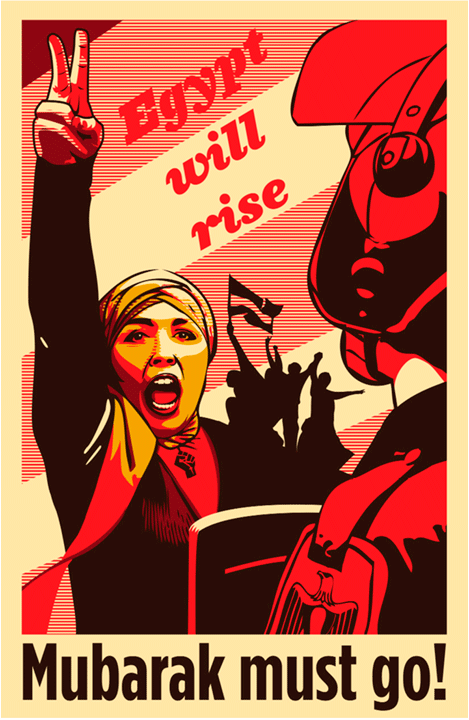 Mubarak must go!  poster, Nick Bygon, Egypt, 2011  The Egyptian Revolution in 2011, part of the greater Arab Spring, was a large-scale movement organized as a demonstration against violence and corruption that had grown drastically over Hosni Mubarak's presidency. Millions of civilians from a broad spectrum of religious and socio-economic backgrounds united to protest high unemployment, state sanctioned violence, corruption, inflation, and low wages.  The clash of protesters and security forces resulted in almost 900 civilian casualties and over 6,000 injuries. Protesters burned police stations in retaliation to the violence, and defied a government imposed curfew. Labor unions organized strikes, and the public kept pressure on the government. As a result of the sustained civil resistance, Mubarak resigned in February 2011.