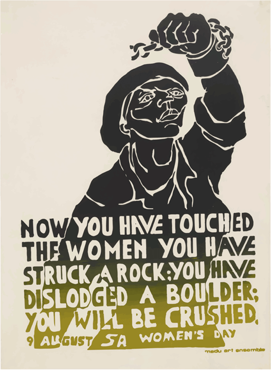 You Have Struck a Rock  poster, Judy Seidman, Medu Art Ensemble, Botswana, 1981  The apartheid in South Africa was a period of systematic, often violent, institutional racial segregation from 1948 until the early 1990's. Apartheid policies were a combination of the segregation of public facilities and social events, as well as the control of housing and employment opportunities based on race. Apartheid was met with significant domestic and international opposition, igniting one of the most influential social movements of the twentieth century.  Arms and trade embargos, global condemnation, and the strong organization of the domestic anti-apartheid movement (African National Congress) finally brought an end to segregation through bilateral negotiations.