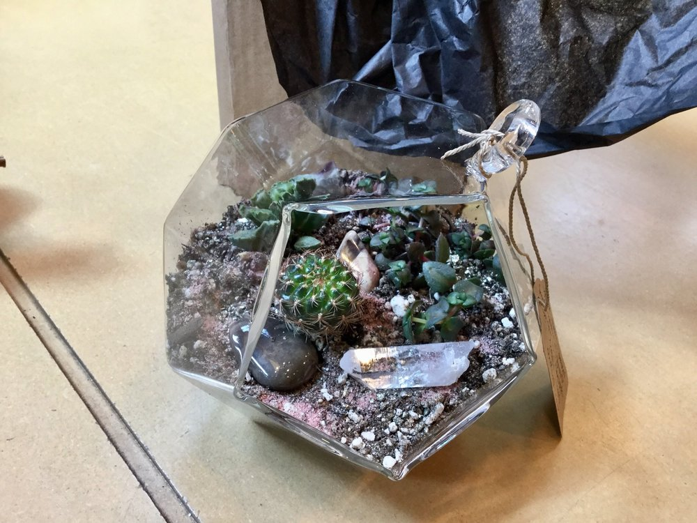 Geometric glass terrarium with (3) succulents, sand, and gemstones. $48 with tax