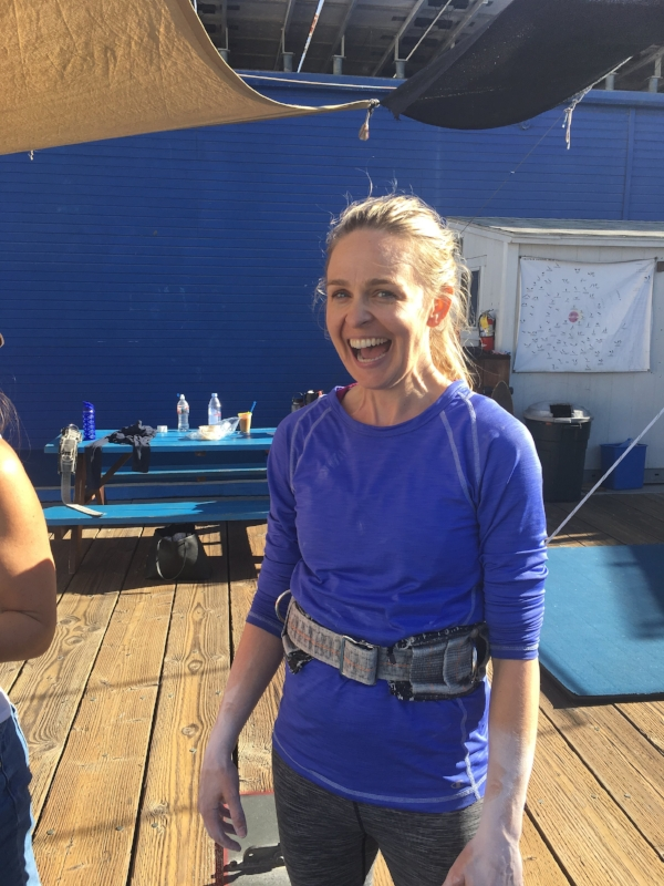 My friend Saralyn post trapeze lesson.