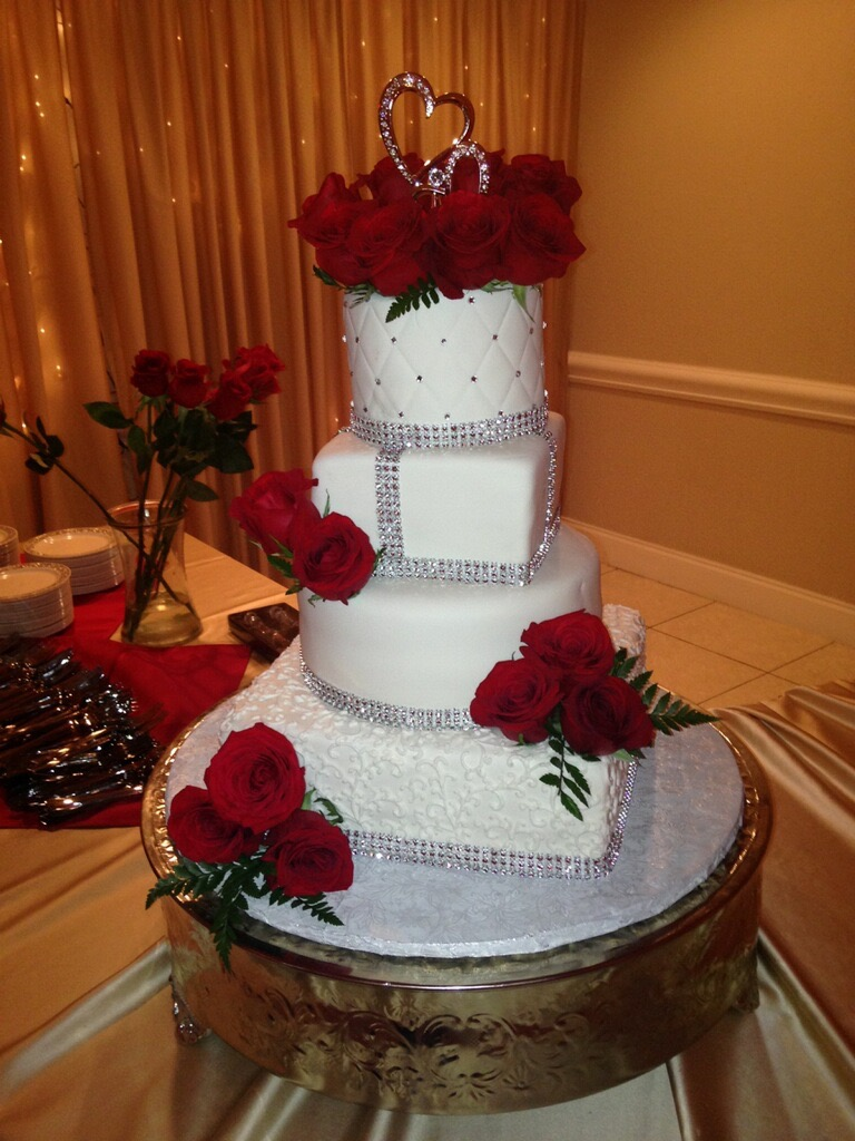 Bling tower wedding cake.