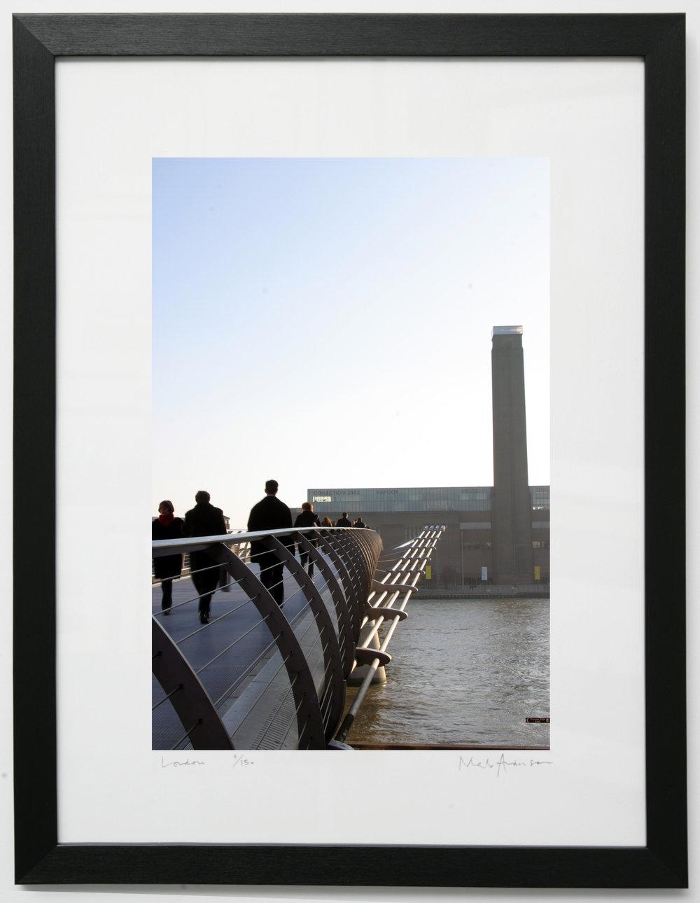 Framed print of London. Millennium Bridge across to Tate Modern ...
