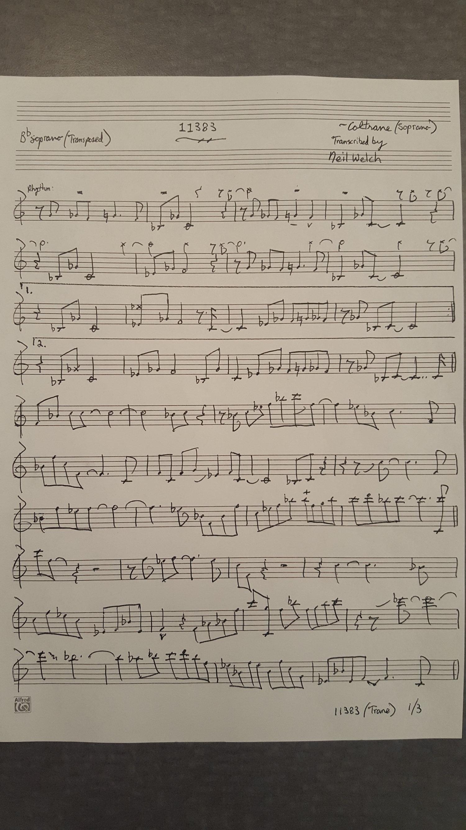 Coltrane Transcription: