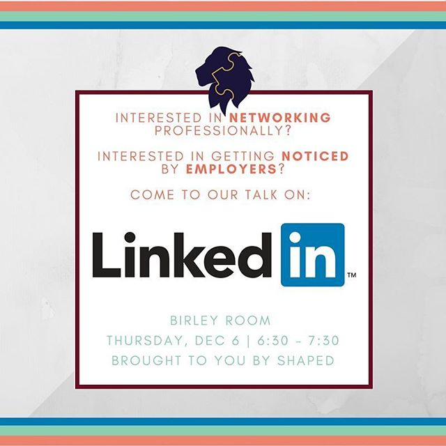 Only one day left to sign up for our LinkedIn talk tomorrow at 6:30pm in the Birley Room!! Come along if you've ever wondered what LinkedIn is or how to make the most out of an account! FREE COOKIES will also be supplied  Sign up at: http://hatfield-shaped.com/registrations/ . . . . #SHAPED #hatfield #hatfieldcollege #durham #durhamuni #durhamuniversity #linkedin #careers #development #personaldevelopment