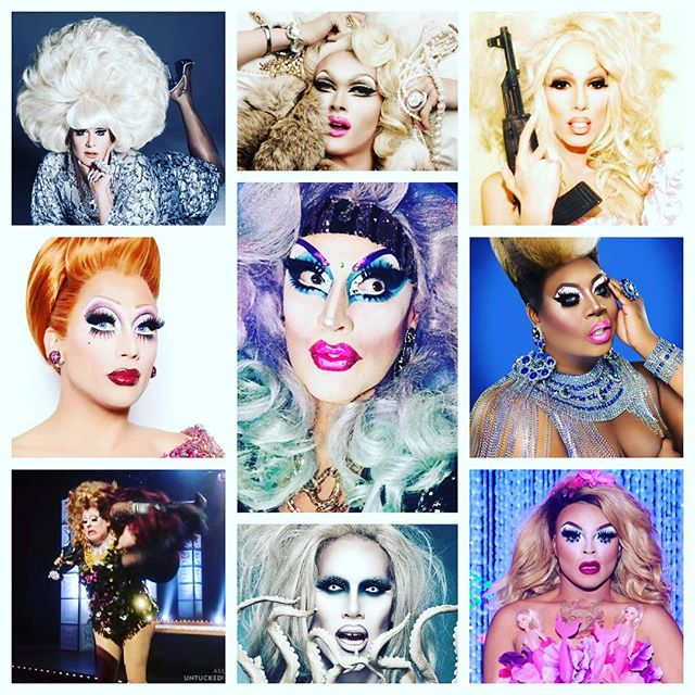 It's a very special #TransformationTuesday edition of #PopCulturePollOfTheDay... You're stuck in a middle seat on a transatlantic flight... Which of these two drag queens would you want to sit between? @official_lady_bunny, @pearliaison, @theonlyalaska5000, @thebiancadelrio, YOURS TRULY, @latriceroyale, @mimiimfurst, @sharonneedlespgh or @vanessavanjie? #BetweenARockAndAHardPlace