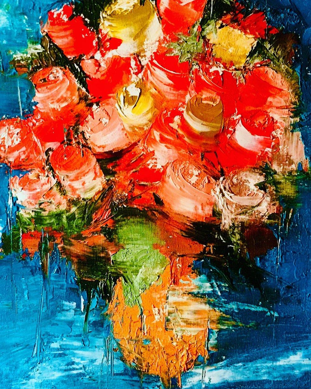 'Flower Study' - 22X22|Oil On Canvas|