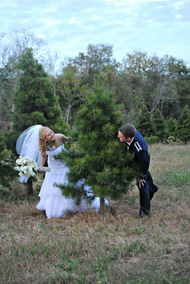 Christmas bride and groom Houston