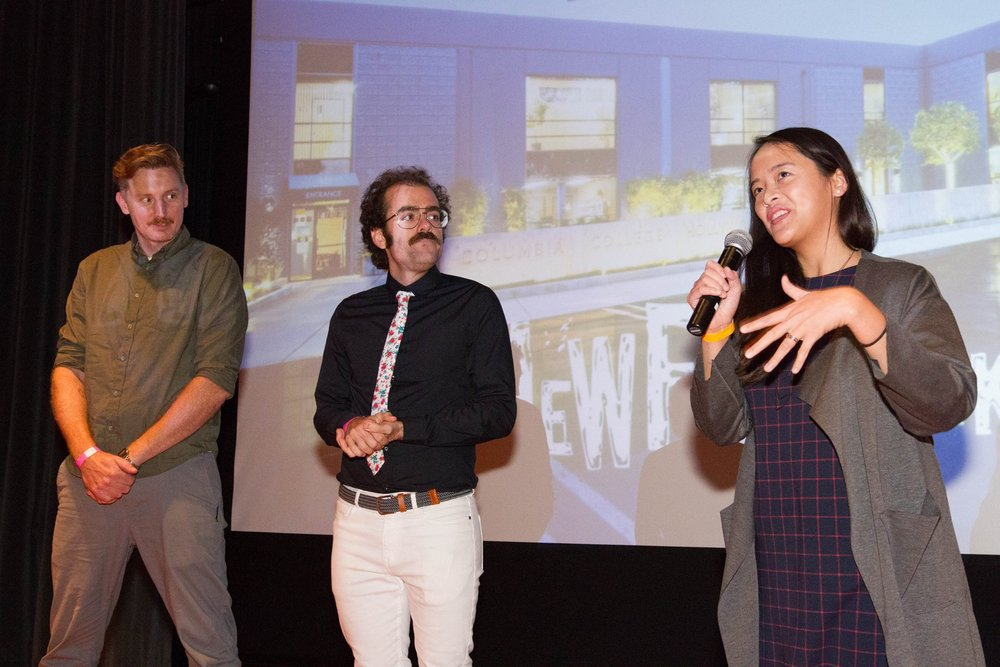 Director Ellie Wen relates the creative challenges of  Single Mother Only Daughter  to the NewFilmmakers LA DocuSlate audience on December 2nd, 2017 at the South Park Center. From the left, cinematographer of  The Duel , Aaron Gambel & I look on.