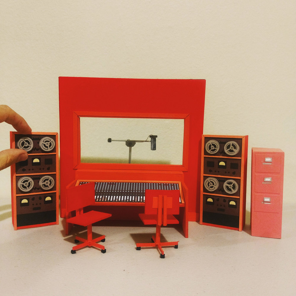 Miniature recording studio, circa 1965. 1/12th scale; Crescent watercolor board, balsa craft wood, sketch paper, Folia art paper, foam-board, cardboard & craft metal piping.