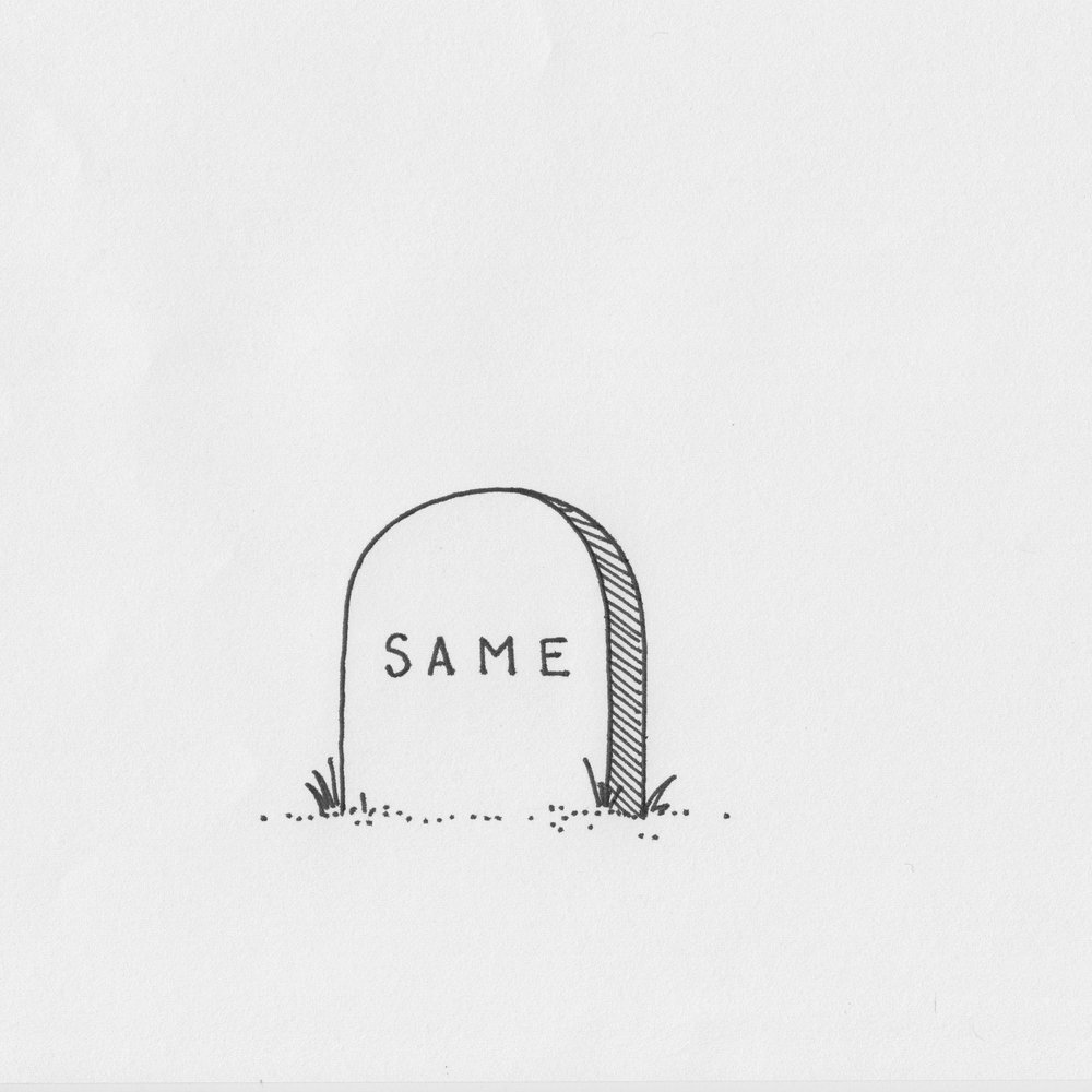 """Same"" (2018); Pen on sketch paper"