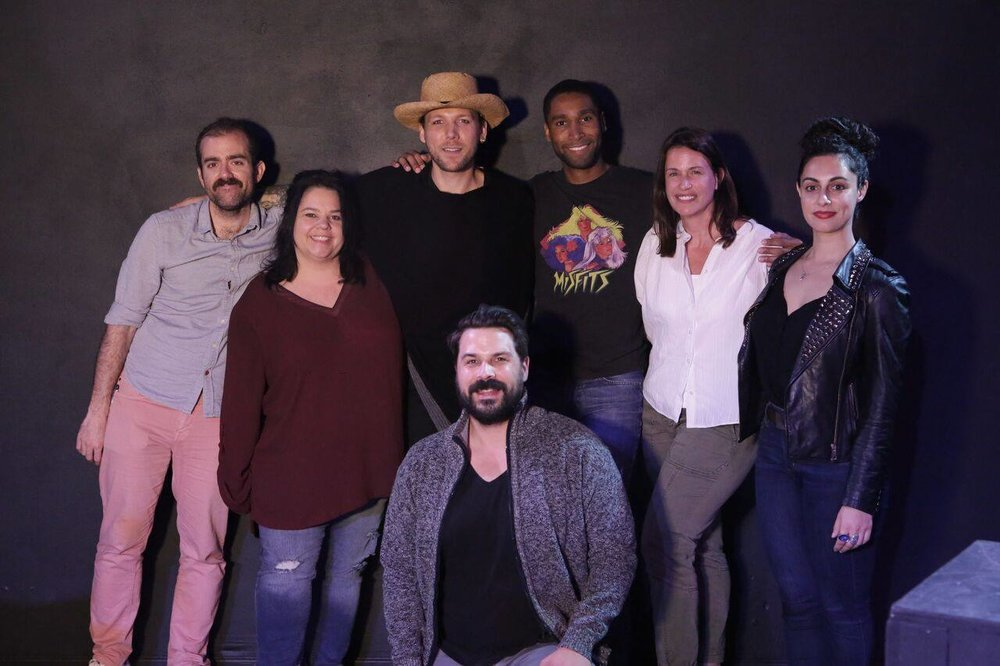 "Honored to share the stage that evening at ""Bada Bing Bada Boom: True Stories Told for Cash"" at The Actor's Company; West Hollywood, October 4th, 2018. Photo by Melanie Chapman. (From left to right: Yours truly, storytellers Laura House, musical guest Zachariah Griffin, Jesse Brune-Horan *seated, Navaris Darson, Kris Crenwelge & Roxy Shabestari. Special thanks to Christopher Brune-Horan for starting the mic!)"