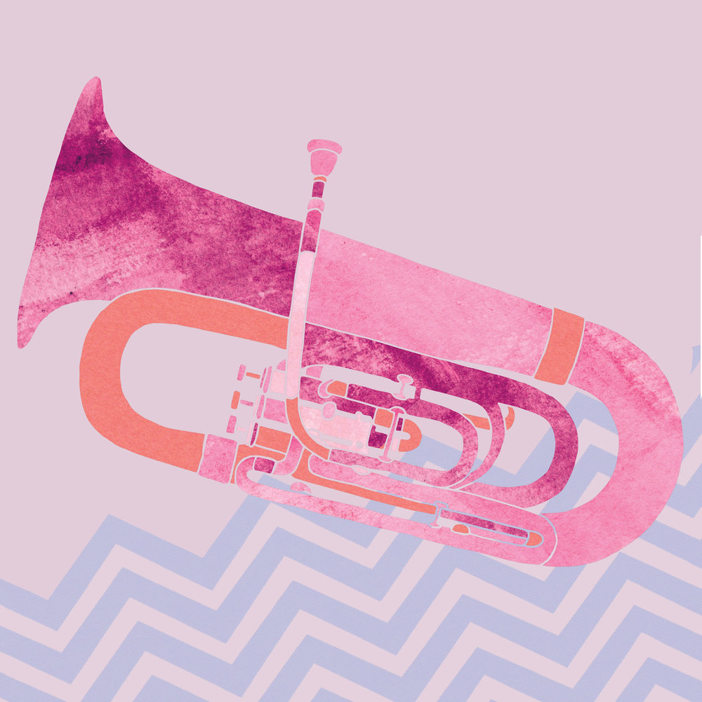 Tuba  (2018); Illustration, construction paper, gouache, edited in Photoshop