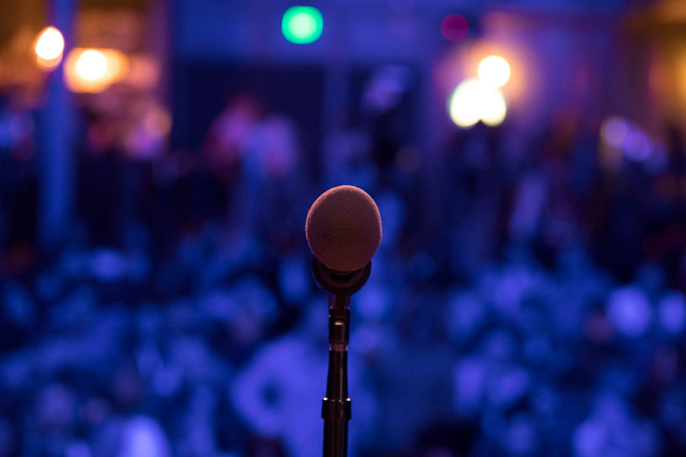 The mic awaits at The Regent Theater. (Photo credit: Ricky Steel & The Moth)