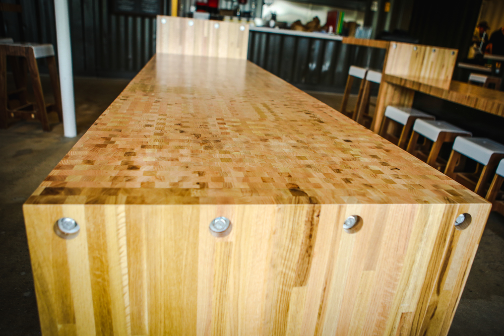 Custom butcher block table