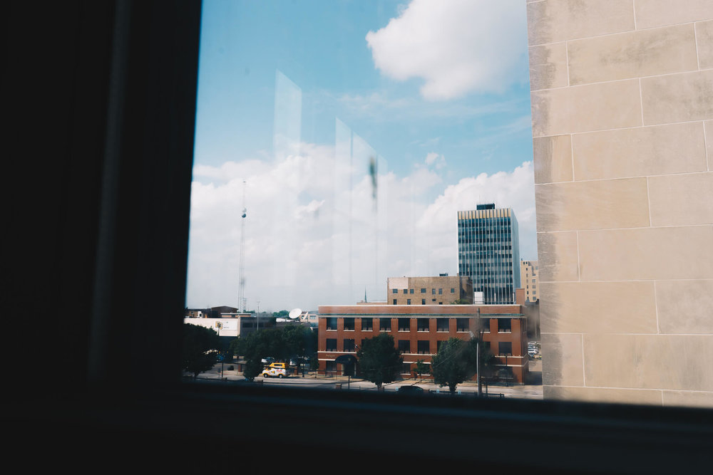 The Hibberd No. 1   A view of downtown South Bend's County-Building seen out of a window inside the newly-renovated Hibberd Building, with a corner of the AT&T building visible along the right edge. This photograph was featured in our November 2018 story  Restoration at The Hibberd .