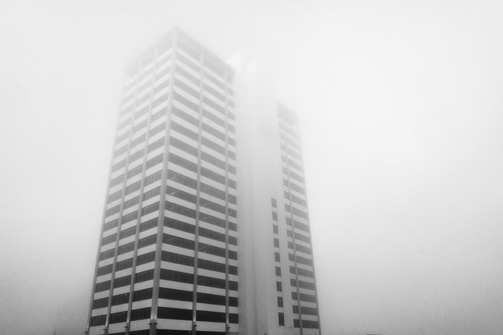 Liberty Tower No. 1   A foggy morning photograph of downtown South Bend's Liberty Tower featured in our September 2017 story  Fog.SB .