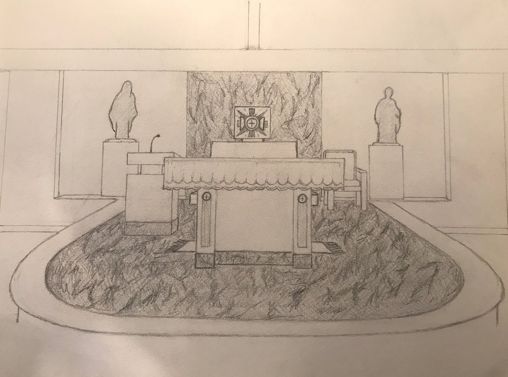 Hand sketch of St. Robert Bellarmine Chapel renovation