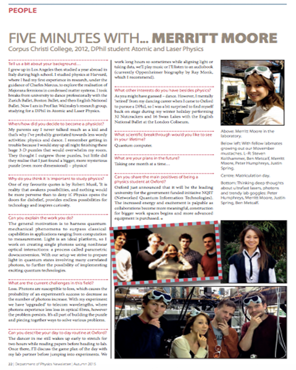 'Five Minutes With...Merritt Moore' Oxford Physics annual newsletter 2015