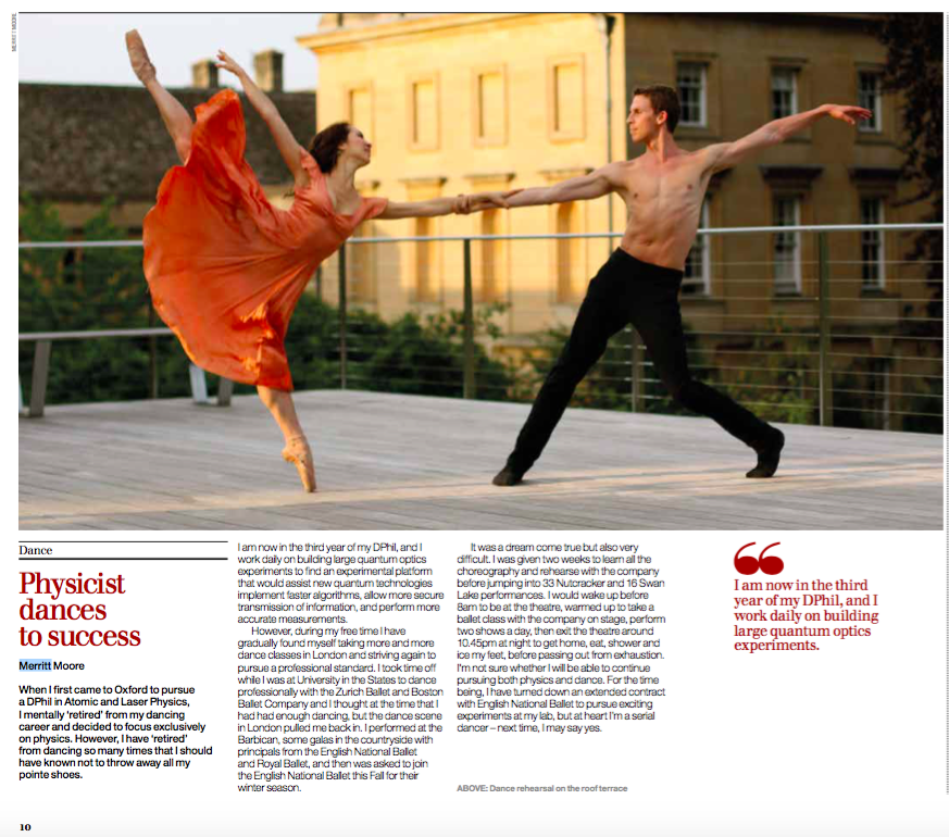 'Physicist Dances to Success' Corpus Christi College annual magazine 'Sundial' 2015