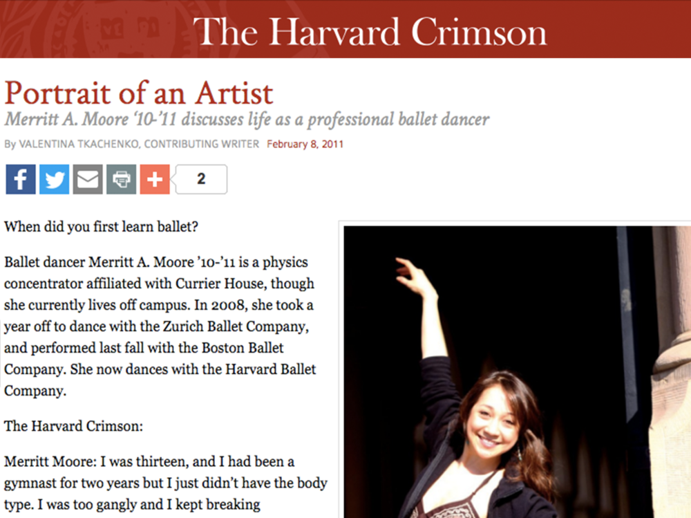 """Merritt A. Moore '10-'11 discusses life as a professional ballet dancer"""