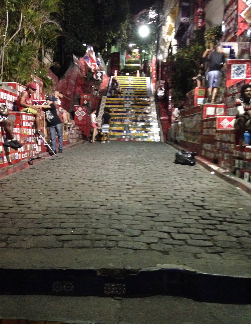 Selaron Staircase at night, Lapa