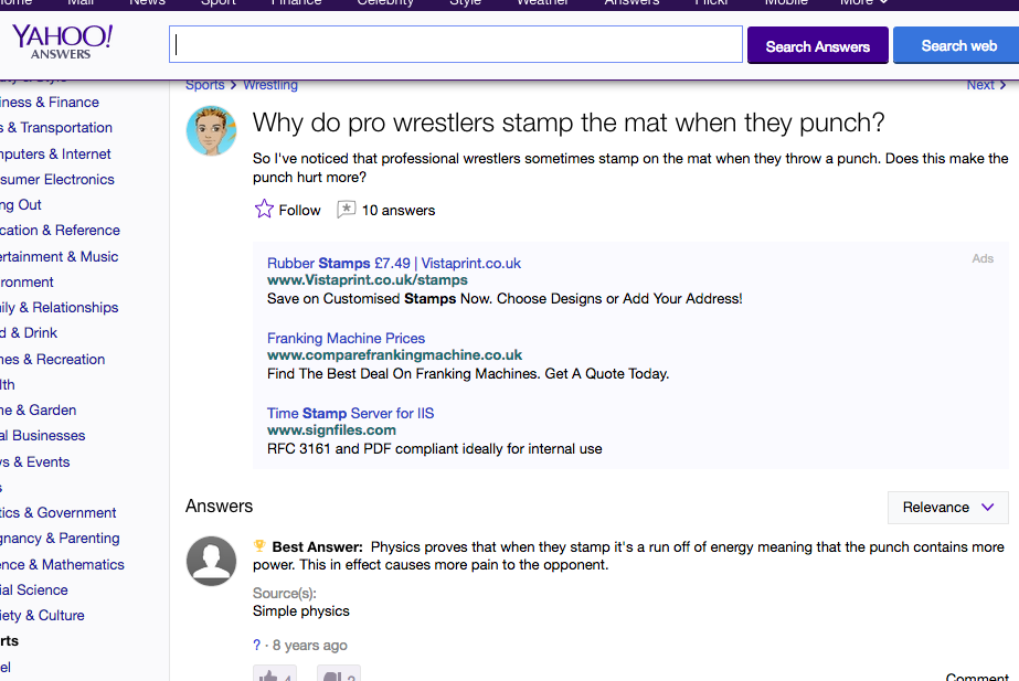 there ain't no answer like a Yahoo! answer