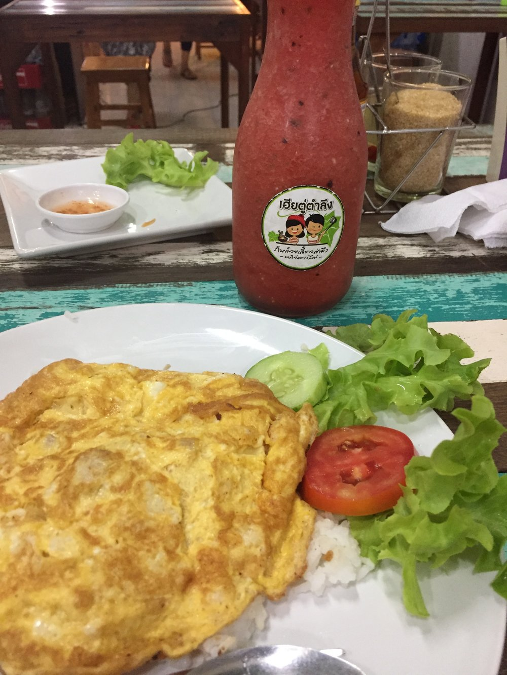 Simple is still best.  Omelet, rice, watermelon juice, Chiang Mai