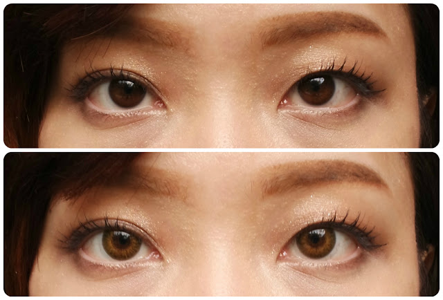 air optix colors in pure hazel before after dark brown eyes