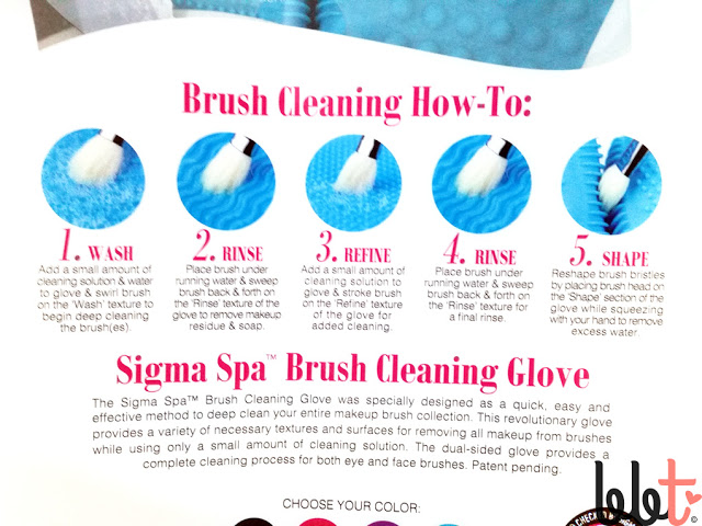 sigma spa brush cleansing glove usage instructions on packaging