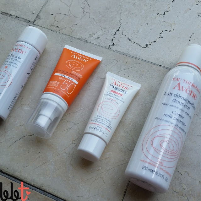 avene Thermal Spring Water, Very High Protection Cream SPF 50+, Hydrance Optimale Light Hydrating Cream and Gentle Milk Cleanser