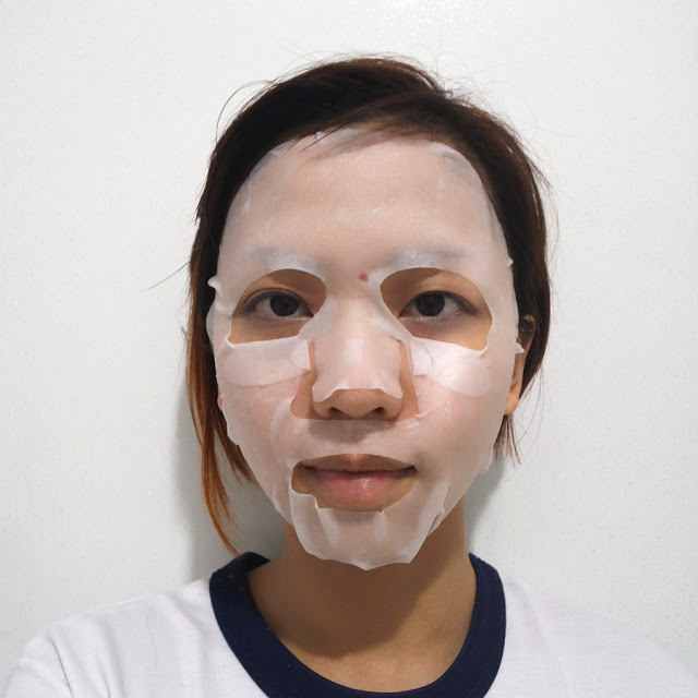klairs rich moist soothing mask worn face
