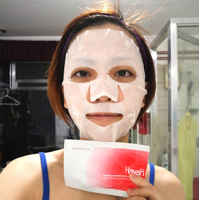 wearing hayan sheet mask wrinkle repair