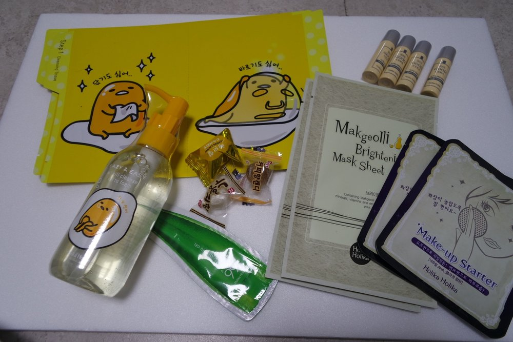 Gifts: Gudetama Blanket, free with purchase of KRW 50 000 (not in photo), Gudetama All Kill Cleanser Oil to Foam KRW 12 000, Gudetama All Kill Sheet 2pc, Good Cera Emulsion and Toner samples (2ea), Makgeolli Brightening Mask Sheet x 2, Makeup Starter x 2, Aloe Soothing Gel x2 - yea I lost one piece.