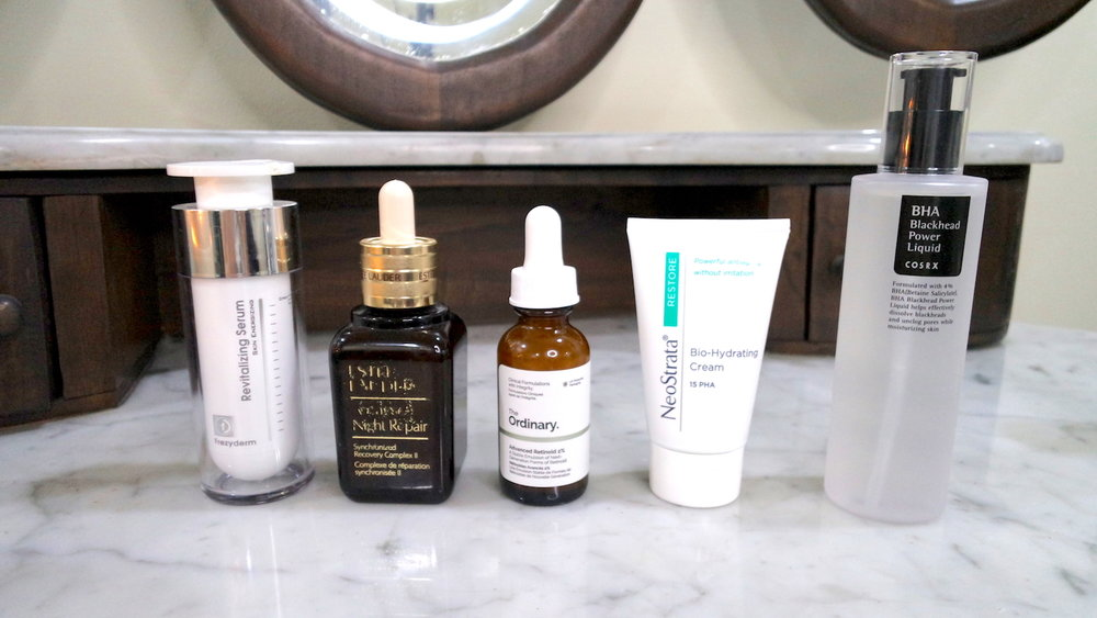 frezyderm revitalizing serum estee lauder advanced night repair serum the ordinary advanced retinoid 2% neostrata bio-hydrating cream 15pha cosrx bha blackhead power liquid